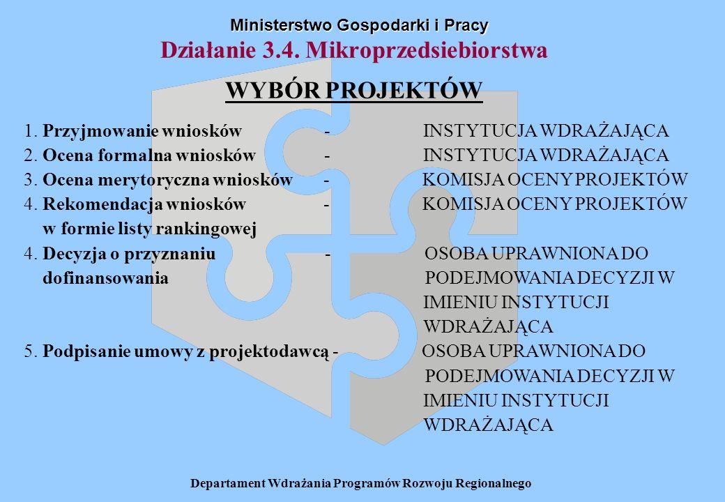 Departament Wdrażania Programów Rozwoju Regionalnego Ministerstwo Gospodarki i Pracy Działanie 3.4. Mikroprzedsiebiorstwa WYBÓR PROJEKTÓW 1. Przyjmowa