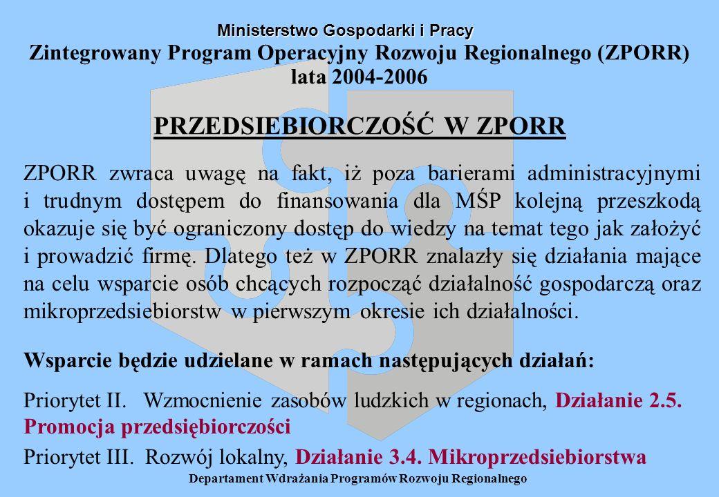 Departament Wdrażania Programów Rozwoju Regionalnego Zintegrowany Program Operacyjny Rozwoju Regionalnego (ZPORR) lata 2004-2006 PRZEDSIEBIORCZOŚĆ W Z