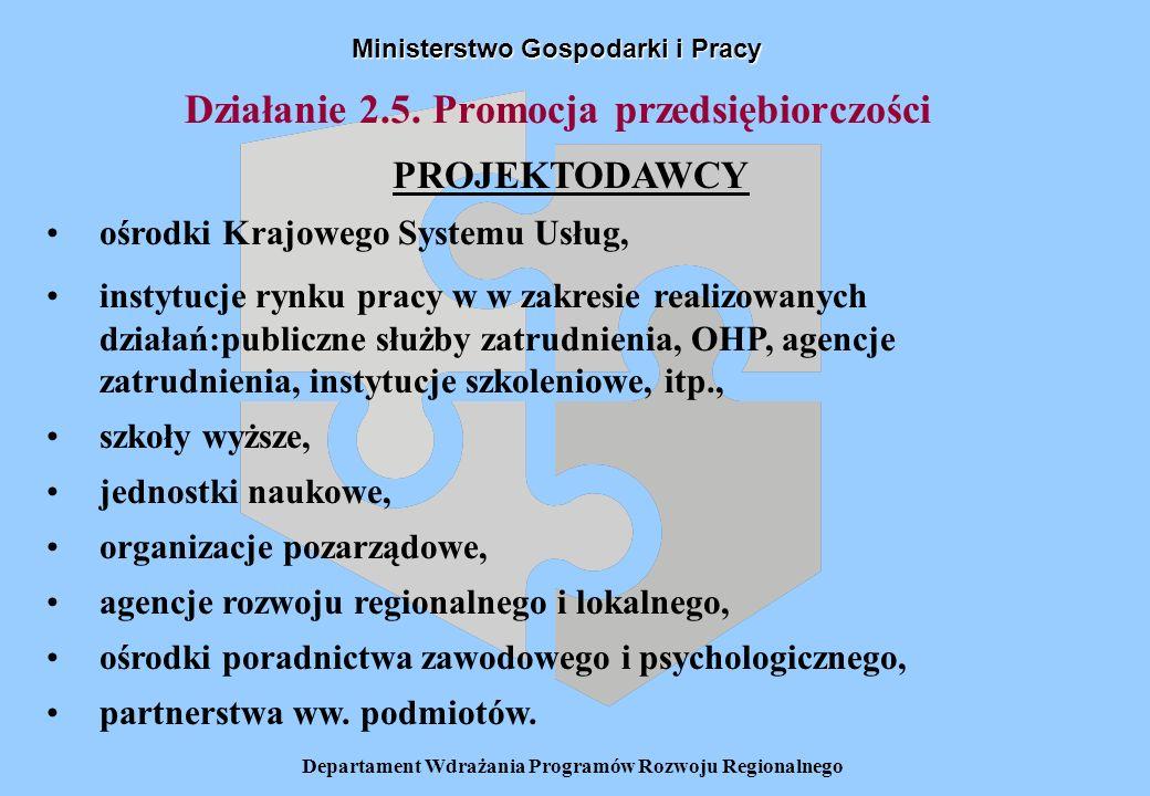 Departament Wdrażania Programów Rozwoju Regionalnego Działanie 2.5. Promocja przedsiębiorczości Ministerstwo Gospodarki i Pracy PROJEKTODAWCY ośrodki