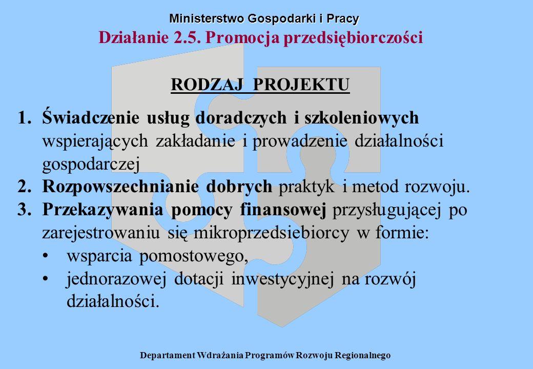 Departament Wdrażania Programów Rozwoju Regionalnego Działanie 2.5. Promocja przedsiębiorczości RODZAJ PROJEKTU Ministerstwo Gospodarki i Pracy 1.Świa