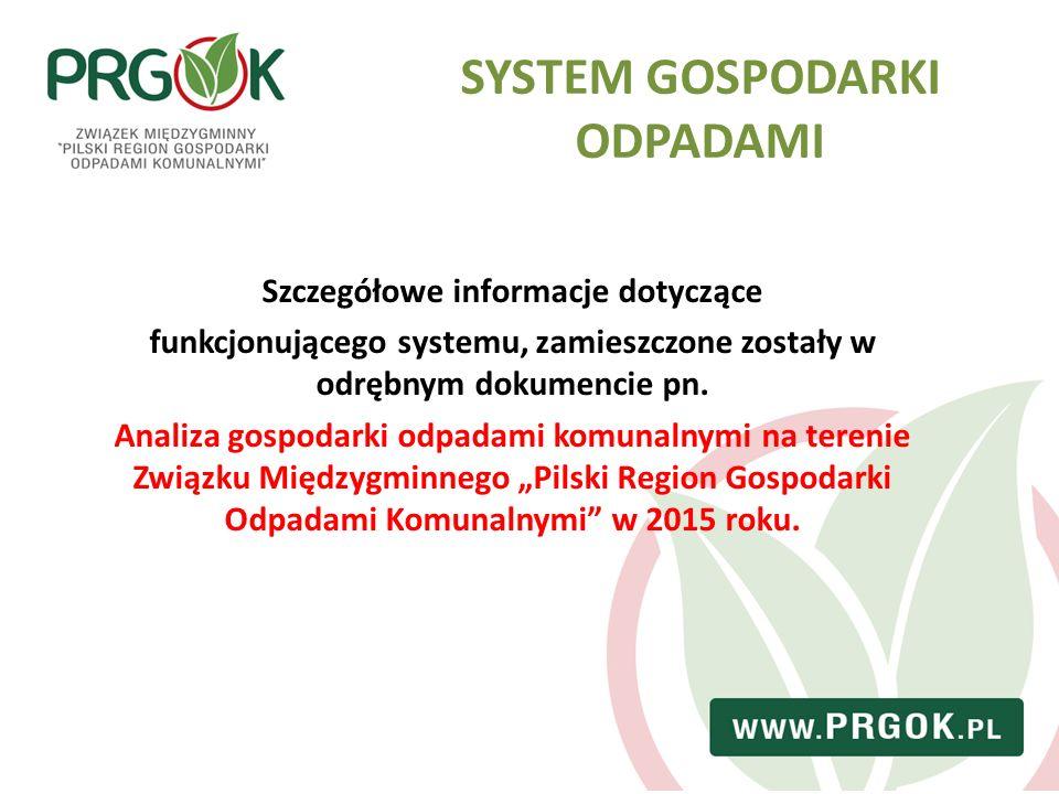 Szczegółowe informacje dotyczące funkcjonującego systemu, zamieszczone zostały w odrębnym dokumencie pn. Analiza gospodarki odpadami komunalnymi na te