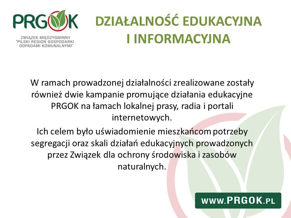 DZIAŁALNOŚĆ EDUKACYJNA I INFORMACYJNA W ramach prowadzonej działalności zrealizowane zostały również dwie kampanie promujące działania edukacyjne PRGO