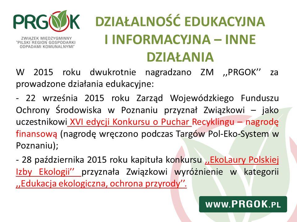 DZIAŁALNOŚĆ EDUKACYJNA I INFORMACYJNA – INNE DZIAŁANIA W 2015 roku dwukrotnie nagradzano ZM,,PRGOK'' za prowadzone działania edukacyjne: - 22 września