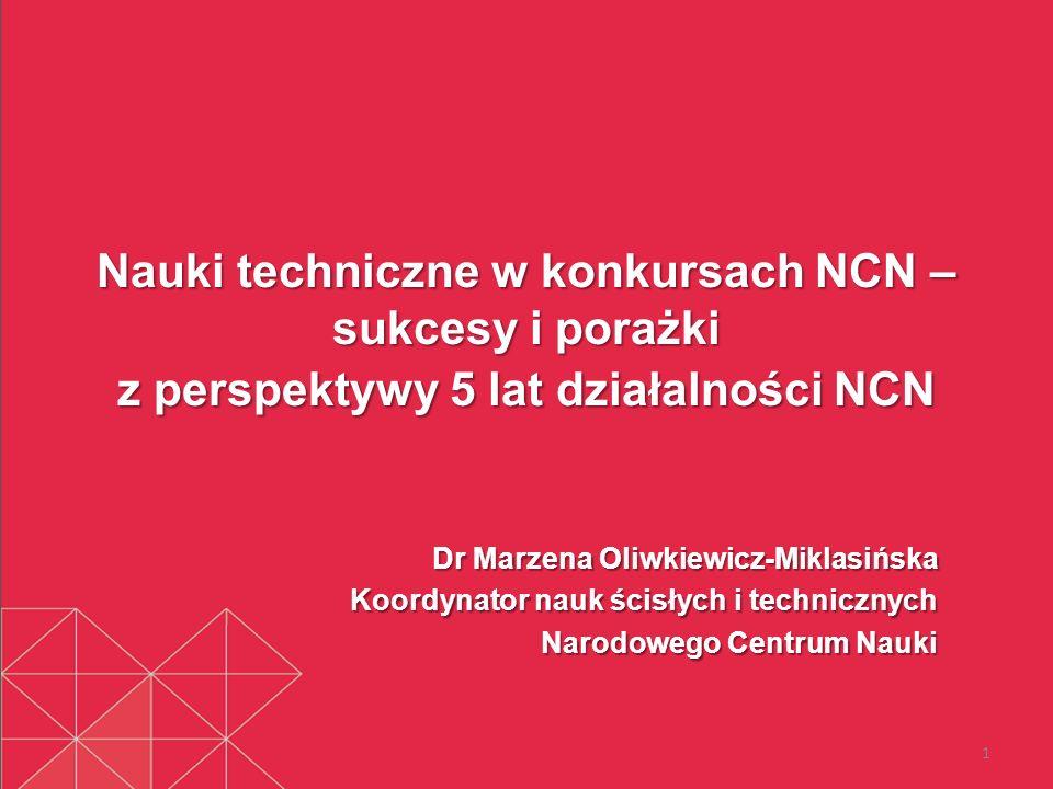 Nauki techniczne w konkursach NCN – sukcesy i porażki z perspektywy 5 lat działalności NCN Dr Marzena Oliwkiewicz-Miklasińska Koordynator nauk ścisłyc