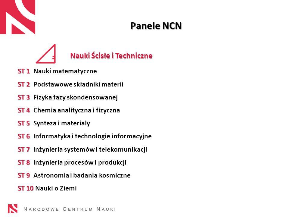 23 Panele NCN Nauki Ścisłe i Techniczne ST 1 ST 1 Nauki matematyczne ST 2 ST 2 Podstawowe składniki materii ST 3 ST 3 Fizyka fazy skondensowanej ST 4