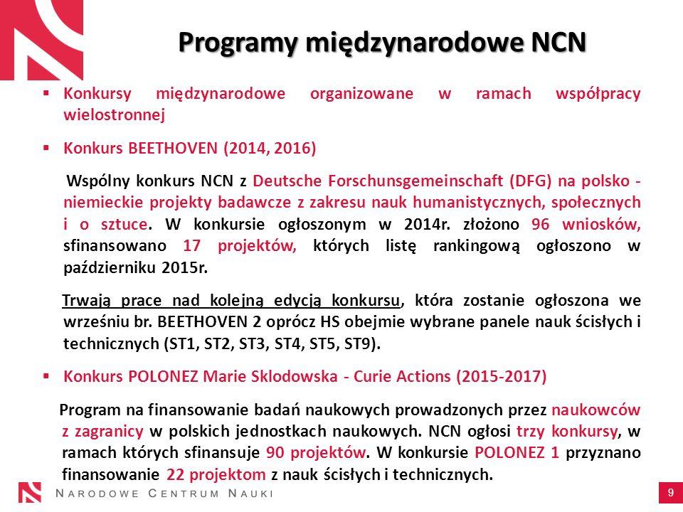 9 Programy międzynarodowe NCN  Konkursy międzynarodowe organizowane w ramach współpracy wielostronnej  Konkurs BEETHOVEN (2014, 2016) Wspólny konkur