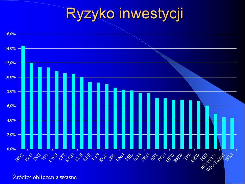 Ryzyko inwestycji Źródło: obliczenia własne.