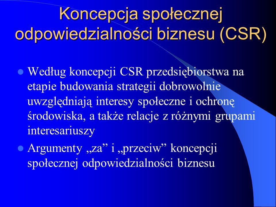 Koncepcja społecznej odpowiedzialności biznesu (CSR) Według koncepcji CSR przedsiębiorstwa na etapie budowania strategii dobrowolnie uwzględniają inte