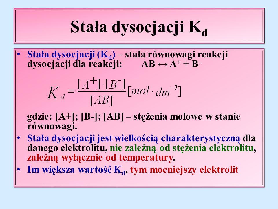 Stała dysocjacji K d Stała dysocjacji (K d ) – stała równowagi reakcji dysocjacji dla reakcji: AB ↔ A + + B - gdzie: [A+]; [B-]; [AB] – stężenia molowe w stanie równowagi.