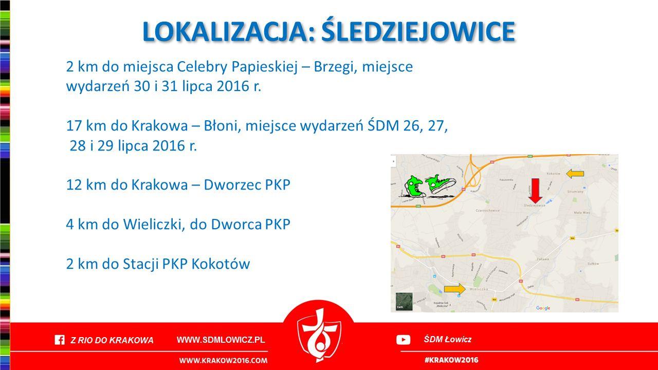 LOKALIZACJA: ŚLEDZIEJOWICE 2 km do miejsca Celebry Papieskiej – Brzegi, miejsce wydarzeń 30 i 31 lipca 2016 r. 17 km do Krakowa – Błoni, miejsce wydar