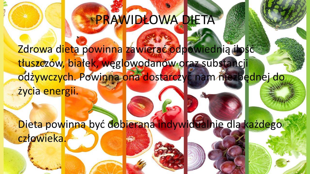 PRAWIDŁOWA DIETA Zdrowa dieta powinna zawierać odpowiednią ilość tłuszczów, białek, węglowodanów oraz substancji odżywczych.