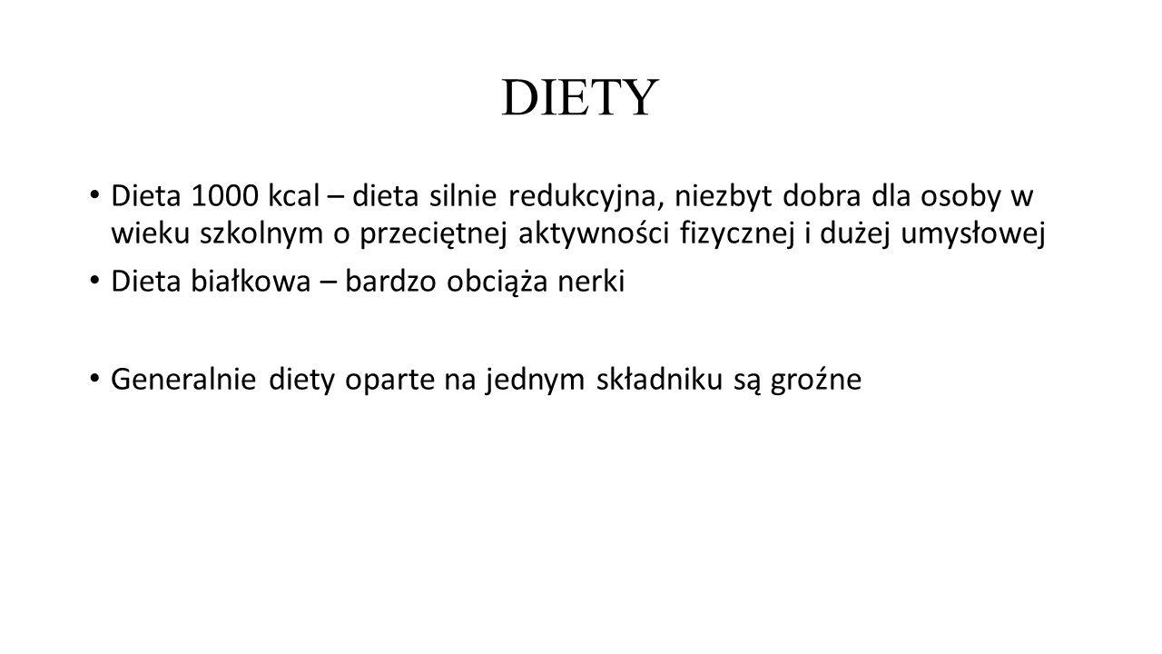 DIETY Dieta 1000 kcal – dieta silnie redukcyjna, niezbyt dobra dla osoby w wieku szkolnym o przeciętnej aktywności fizycznej i dużej umysłowej Dieta białkowa – bardzo obciąża nerki Generalnie diety oparte na jednym składniku są groźne