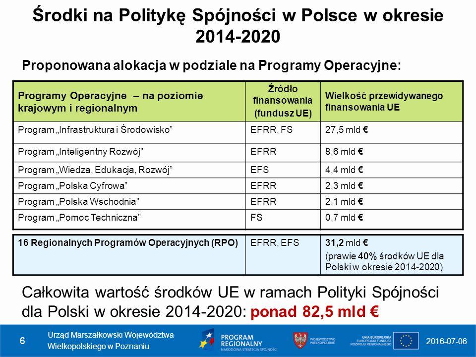 """Środki na Politykę Spójności w Polsce w okresie 2014-2020 Proponowana alokacja w podziale na Programy Operacyjne: 2016-07-06 Programy Operacyjne – na poziomie krajowym i regionalnym Źródło finansowania (fundusz UE) Wielkość przewidywanego finansowania UE Program """"Infrastruktura i Środowisko EFRR, FS27,5 mld € Program """"Inteligentny Rozwój EFRR8,6 mld € Program """"Wiedza, Edukacja, Rozwój EFS4,4 mld € Program """"Polska Cyfrowa EFRR2,3 mld € Program """"Polska Wschodnia EFRR2,1 mld € Program """"Pomoc Techniczna FS0,7 mld € 16 Regionalnych Programów Operacyjnych (RPO)EFRR, EFS31,2 mld € (prawie 40% środków UE dla Polski w okresie 2014-2020) Urząd Marszałkowski Województwa Wielkopolskiego w Poznaniu 6 Całkowita wartość środków UE w ramach Polityki Spójności dla Polski w okresie 2014-2020: ponad 82,5 mld €"""