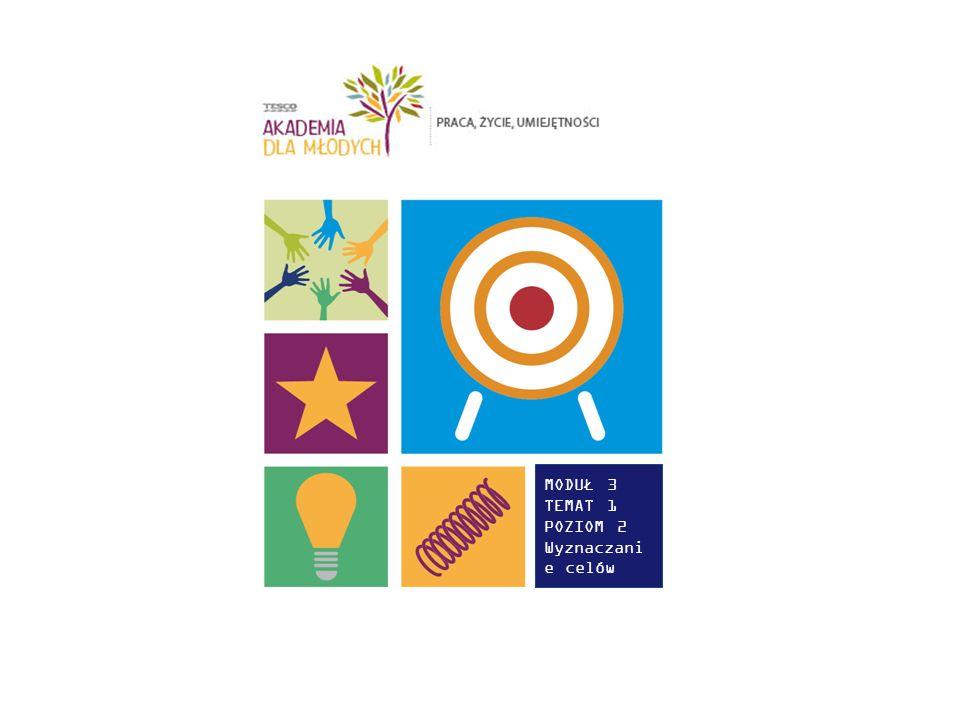 W TYM TEMACIE MŁODZI LUDZIE: Poznają, jak planowanie celów może pomóc im w ich przyszłej karierze Będą wyznaczyć cel SMART związany z karierą zawodową Określą sposoby rozważania i zbierania informacji zwrotnych dotyczących postępów, by móc zmodyfikować swój cel/działania.