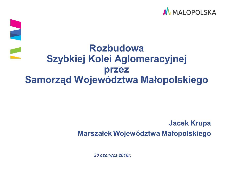 Działania Województwa Małopolskiego w zakresie transportu zbiorowego Podniesienie jakości usług kolejowych i w konsekwencji wzrost udziału transportu kolejowego w podróżach mieszkańców.