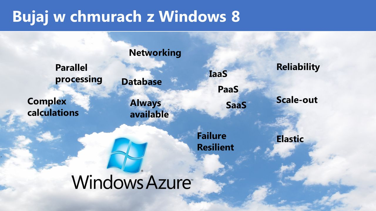 Bujaj w chmurach z Windows 8 Parallel processing Complex calculations Database Networking IaaS PaaS SaaS Scale-out Elastic Always available Failure Resilient Reliability