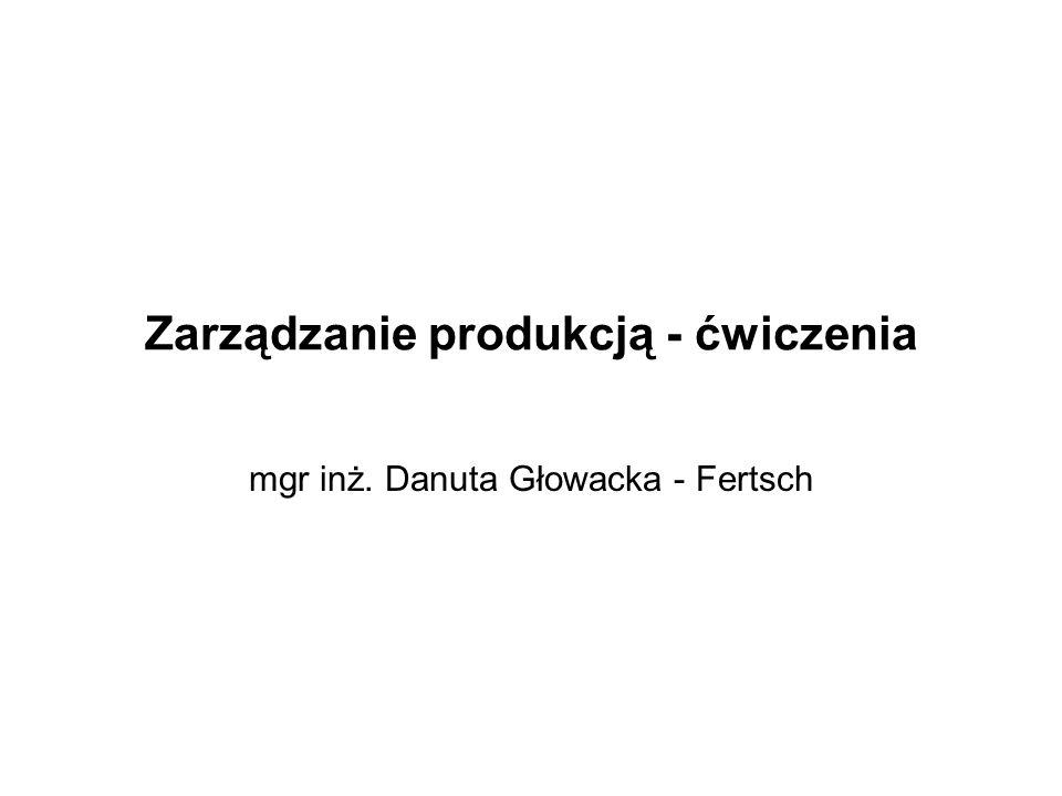 Zarządzanie produkcją - ćwiczenia mgr inż. Danuta Głowacka - Fertsch