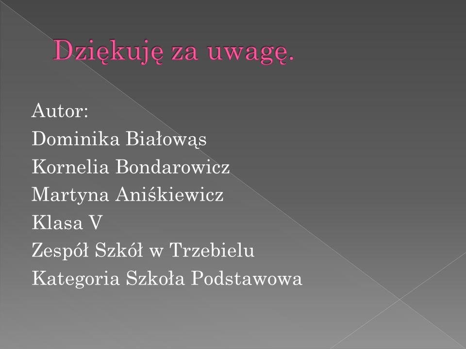 Autor: Dominika Białowąs Kornelia Bondarowicz Martyna Aniśkiewicz Klasa V Zespół Szkół w Trzebielu Kategoria Szkoła Podstawowa