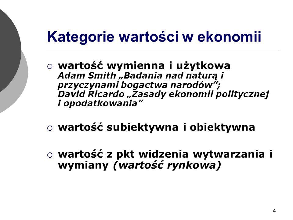 """4 Kategorie wartości w ekonomii  wartość wymienna i użytkowa Adam Smith """"Badania nad naturą i przyczynami bogactwa narodów ; David Ricardo """"Zasady ekonomii politycznej i opodatkowania  wartość subiektywna i obiektywna  wartość z pkt widzenia wytwarzania i wymiany (wartość rynkowa)"""