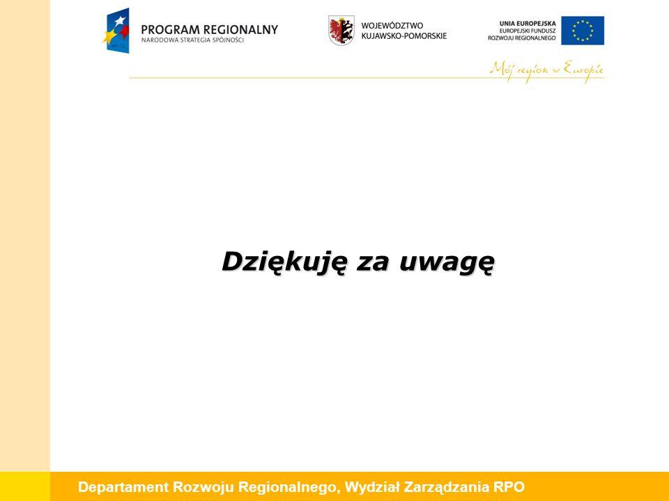 Departament Rozwoju Regionalnego, Wydział Zarządzania RPO Dziękuję za uwagę