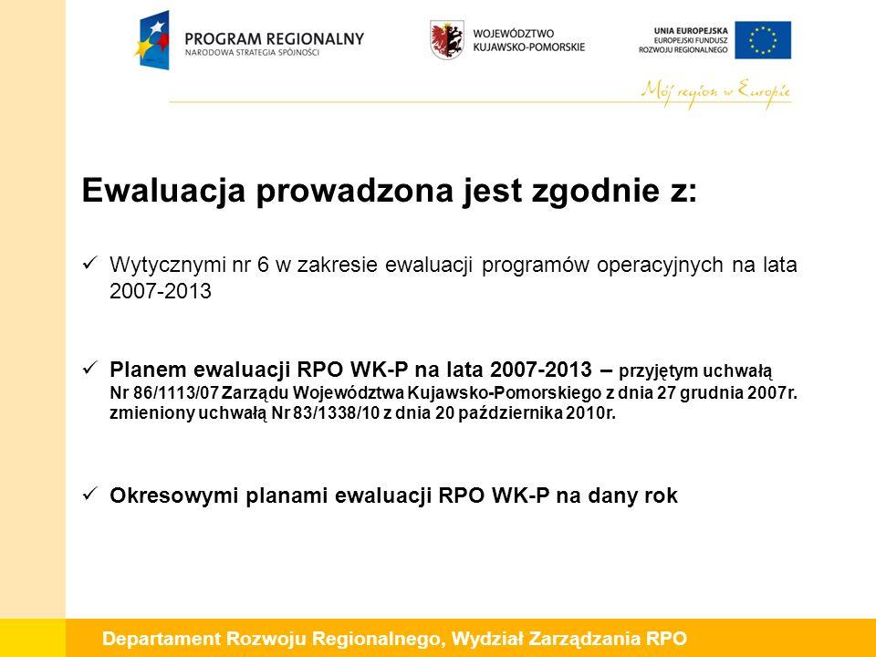Departament Rozwoju Regionalnego, Wydział Zarządzania RPO Ewaluacja prowadzona jest zgodnie z: Wytycznymi nr 6 w zakresie ewaluacji programów operacyj