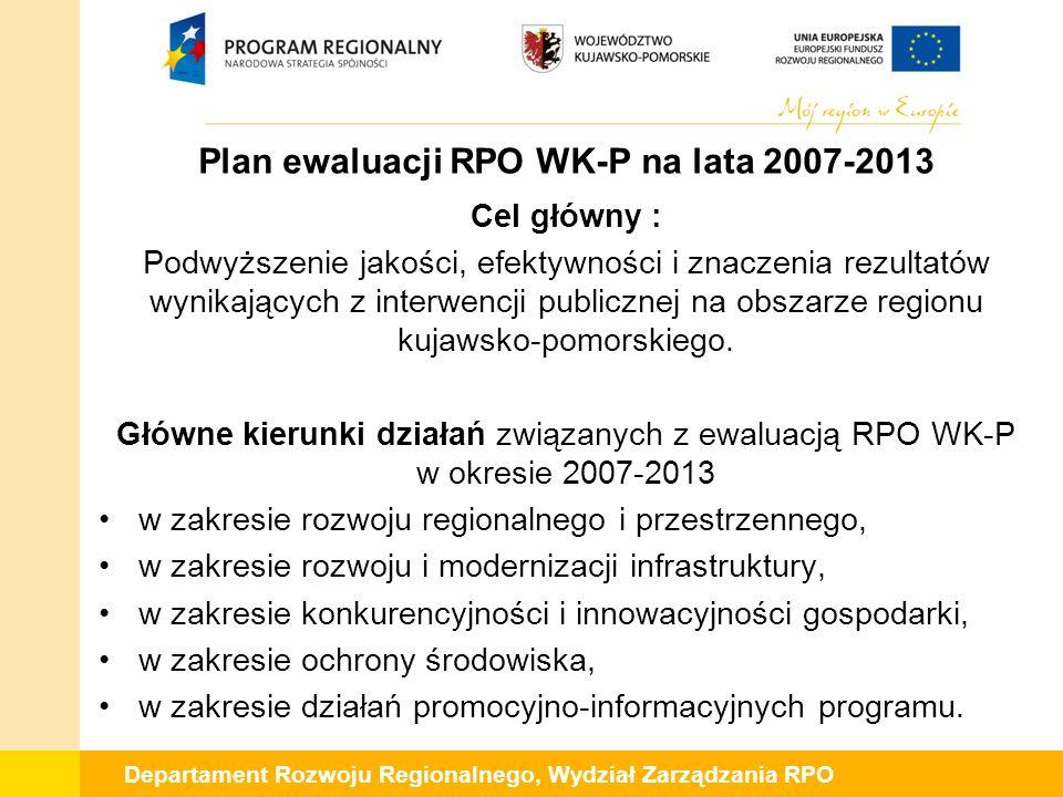 Departament Rozwoju Regionalnego, Wydział Zarządzania RPO Plan ewaluacji RPO WK-P na lata 2007-2013 Cel główny : Podwyższenie jakości, efektywności i