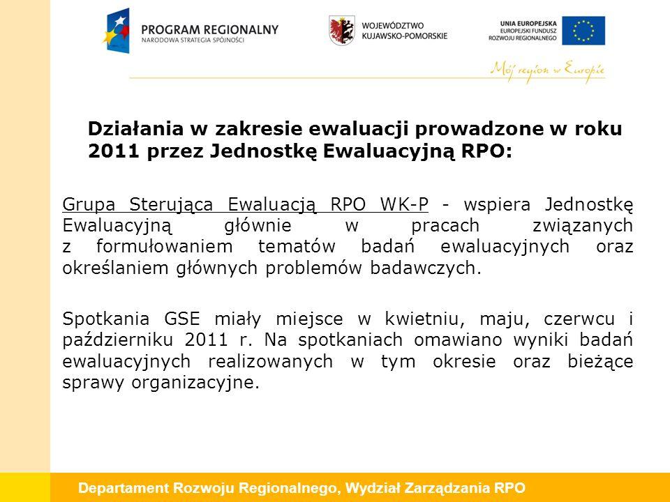 Departament Rozwoju Regionalnego, Wydział Zarządzania RPO Działania w zakresie ewaluacji prowadzone w roku 2011 przez Jednostkę Ewaluacyjną RPO: Grupa