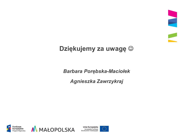 Dziękujemy za uwagę Barbara Porębska-Maciołek Agnieszka Zawrzykraj
