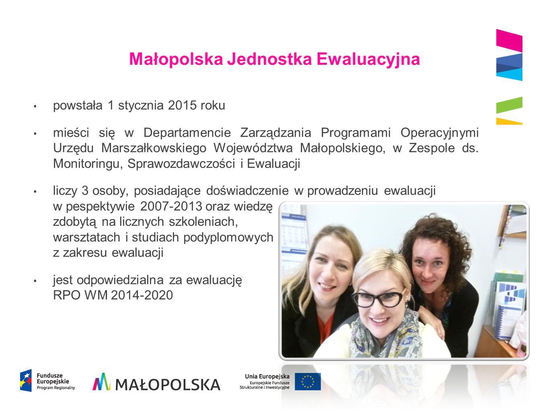 Małopolska Jednostka Ewaluacyjna powstała 1 stycznia 2015 roku mieści się w Departamencie Zarządzania Programami Operacyjnymi Urzędu Marszałkowskiego Województwa Małopolskiego, w Zespole ds.