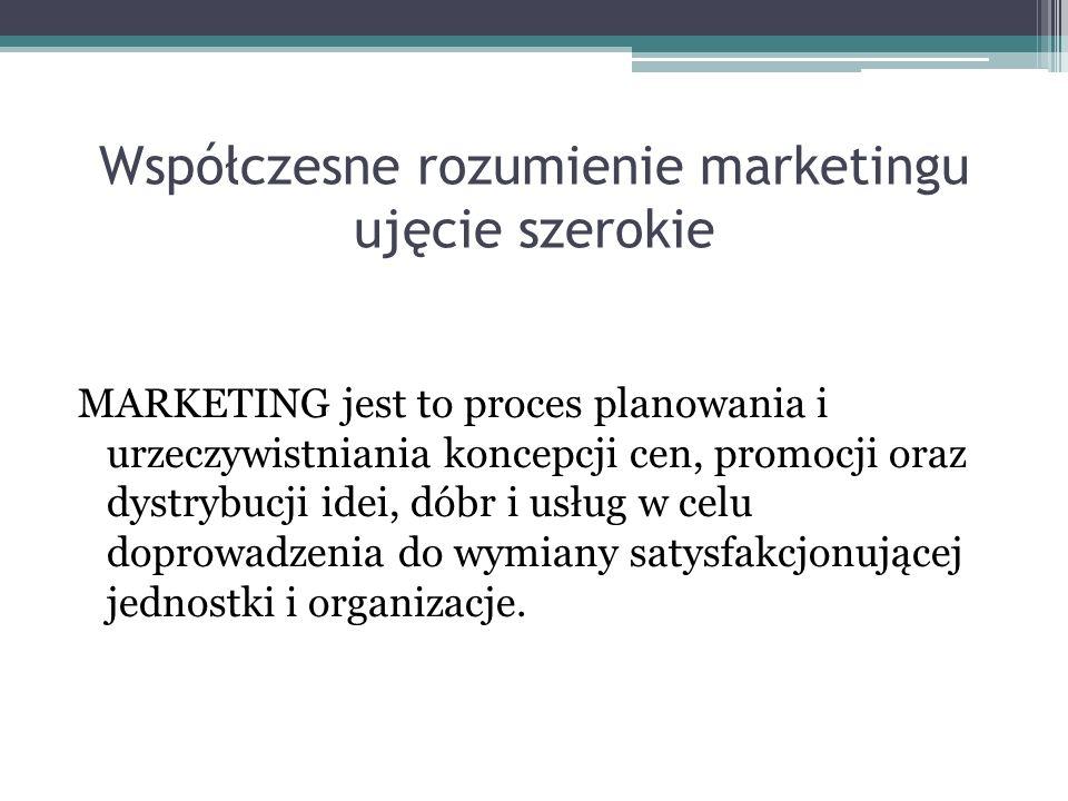 Współczesne rozumienie marketingu ujęcie szerokie MARKETING jest to proces planowania i urzeczywistniania koncepcji cen, promocji oraz dystrybucji ide