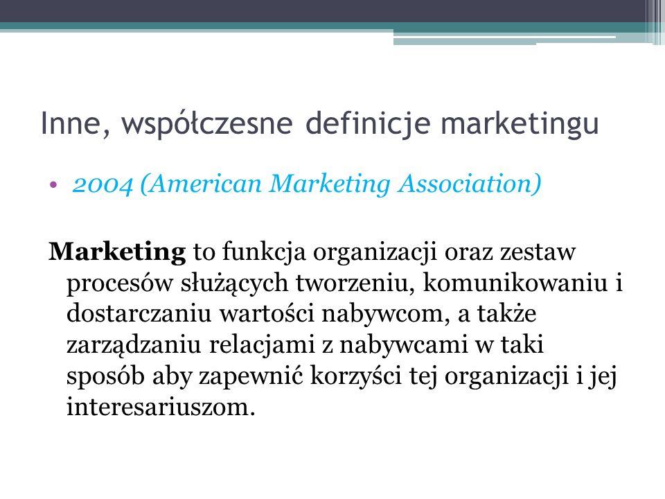 Inne, współczesne definicje marketingu 2004 (American Marketing Association) Marketing to funkcja organizacji oraz zestaw procesów służących tworzeniu