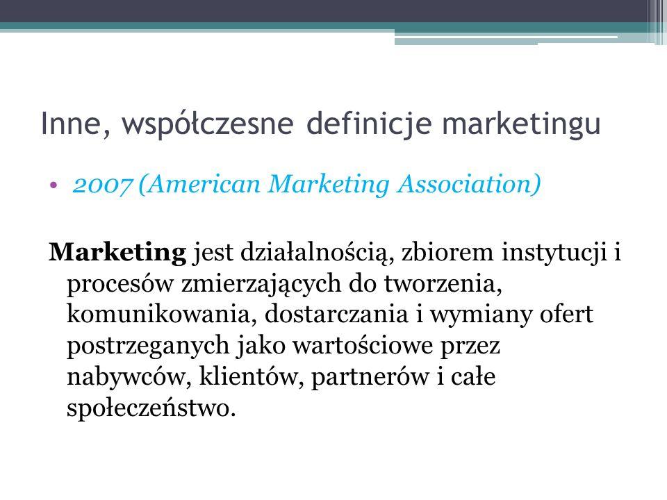 Inne, współczesne definicje marketingu 2007 (American Marketing Association) Marketing jest działalnością, zbiorem instytucji i procesów zmierzających