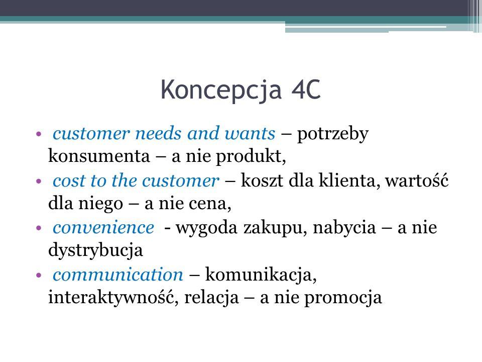 Koncepcja 4C customer needs and wants – potrzeby konsumenta – a nie produkt, cost to the customer – koszt dla klienta, wartość dla niego – a nie cena,