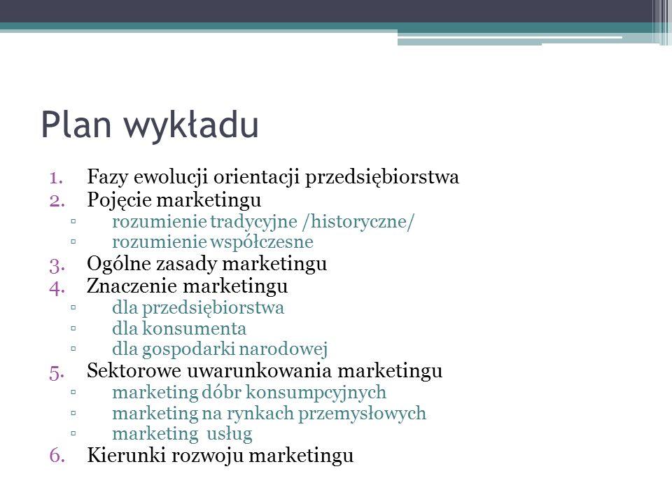 Plan wykładu 1.Fazy ewolucji orientacji przedsiębiorstwa 2.Pojęcie marketingu ▫ rozumienie tradycyjne /historyczne/ ▫ rozumienie współczesne 3.Ogólne