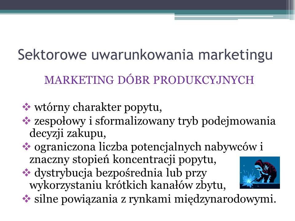 Sektorowe uwarunkowania marketingu MARKETING DÓBR PRODUKCYJNYCH  wtórny charakter popytu,  zespołowy i sformalizowany tryb podejmowania decyzji zaku