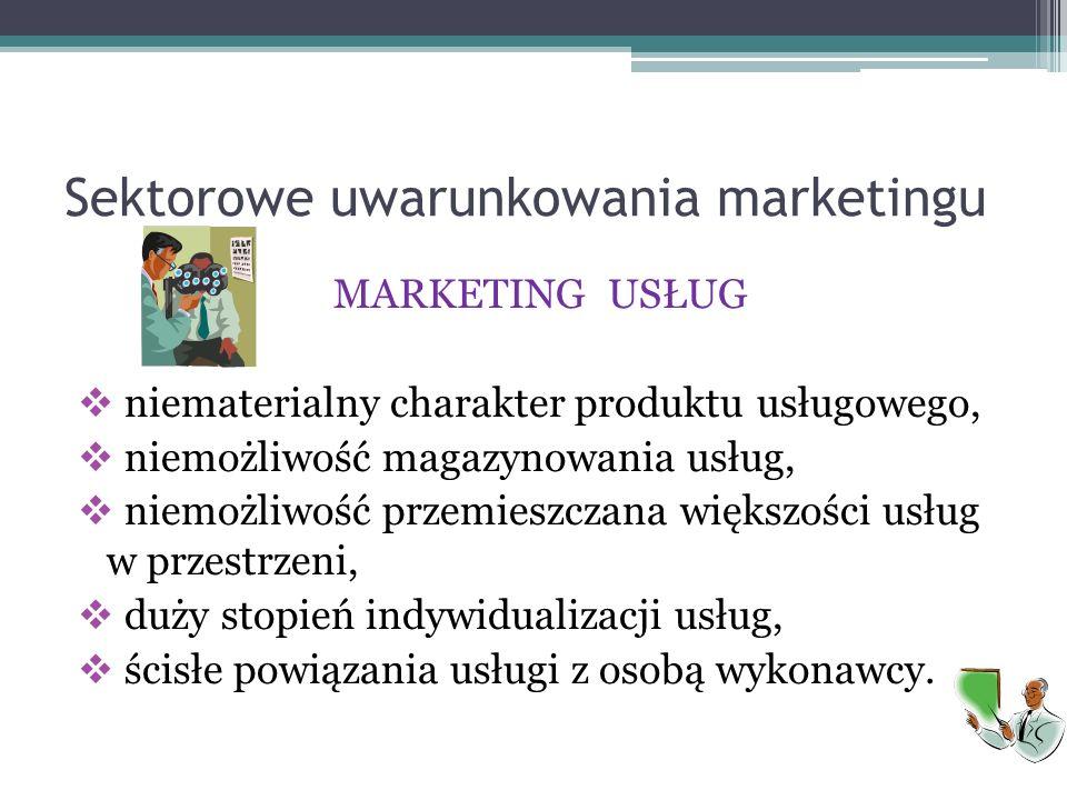 Sektorowe uwarunkowania marketingu MARKETING USŁUG  niematerialny charakter produktu usługowego,  niemożliwość magazynowania usług,  niemożliwość p