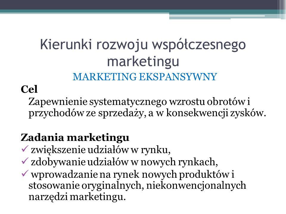 Kierunki rozwoju współczesnego marketingu MARKETING EKSPANSYWNY Cel Zapewnienie systematycznego wzrostu obrotów i przychodów ze sprzedaży, a w konsekw