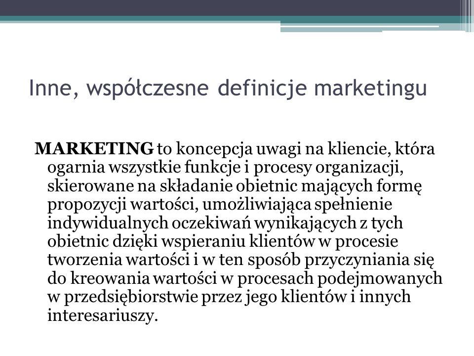 Inne, współczesne definicje marketingu MARKETING to koncepcja uwagi na kliencie, która ogarnia wszystkie funkcje i procesy organizacji, skierowane na