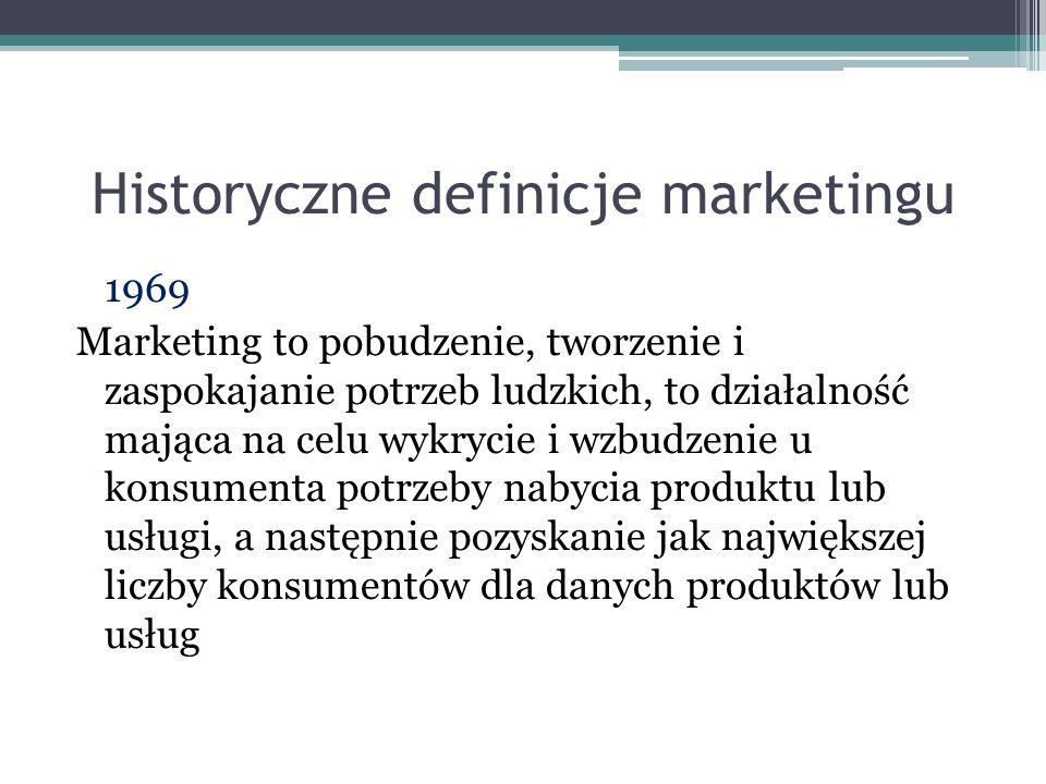 Historyczne definicje marketingu 1969 Marketing to pobudzenie, tworzenie i zaspokajanie potrzeb ludzkich, to działalność mająca na celu wykrycie i wzb