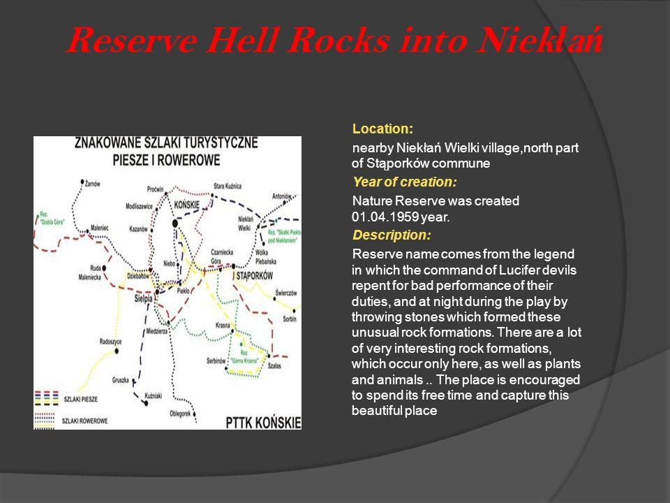 Reserve Hell Rocks into Niek ł a ń Location: nearby Niekłań Wielki village,north part of Stąporków commune Year of creation: Nature Reserve was create