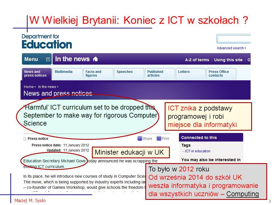 W Wielkiej Brytanii: Koniec z ICT w szkołach .