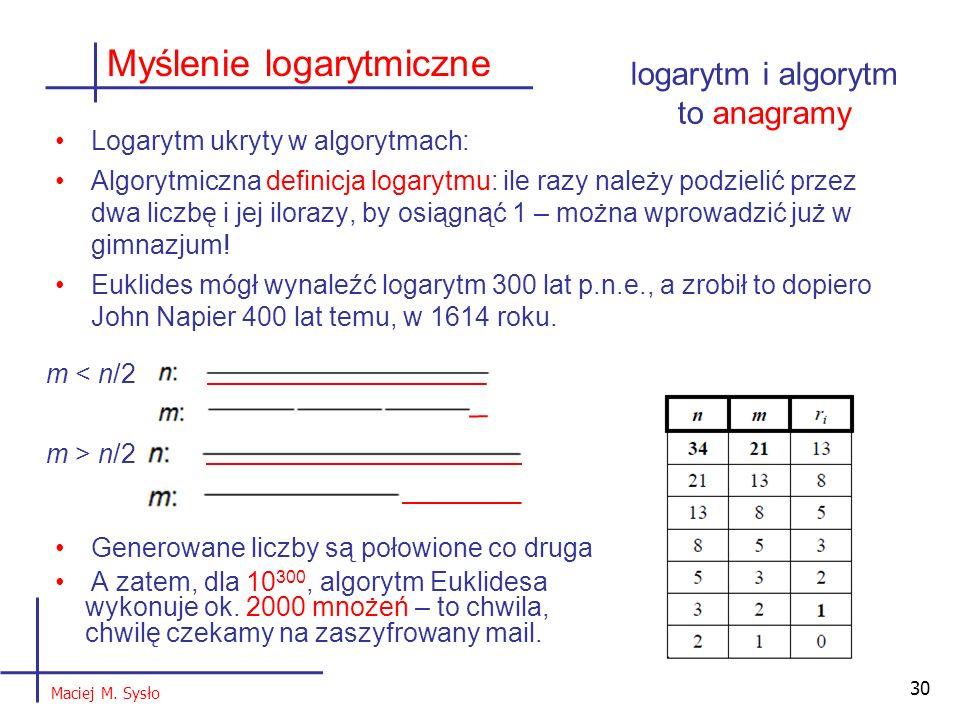 Logarytm ukryty w algorytmach: Algorytmiczna definicja logarytmu: ile razy należy podzielić przez dwa liczbę i jej ilorazy, by osiągnąć 1 – można wprowadzić już w gimnazjum.