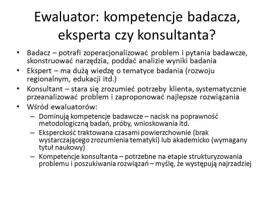 Ewaluator: kompetencje badacza, eksperta czy konsultanta.