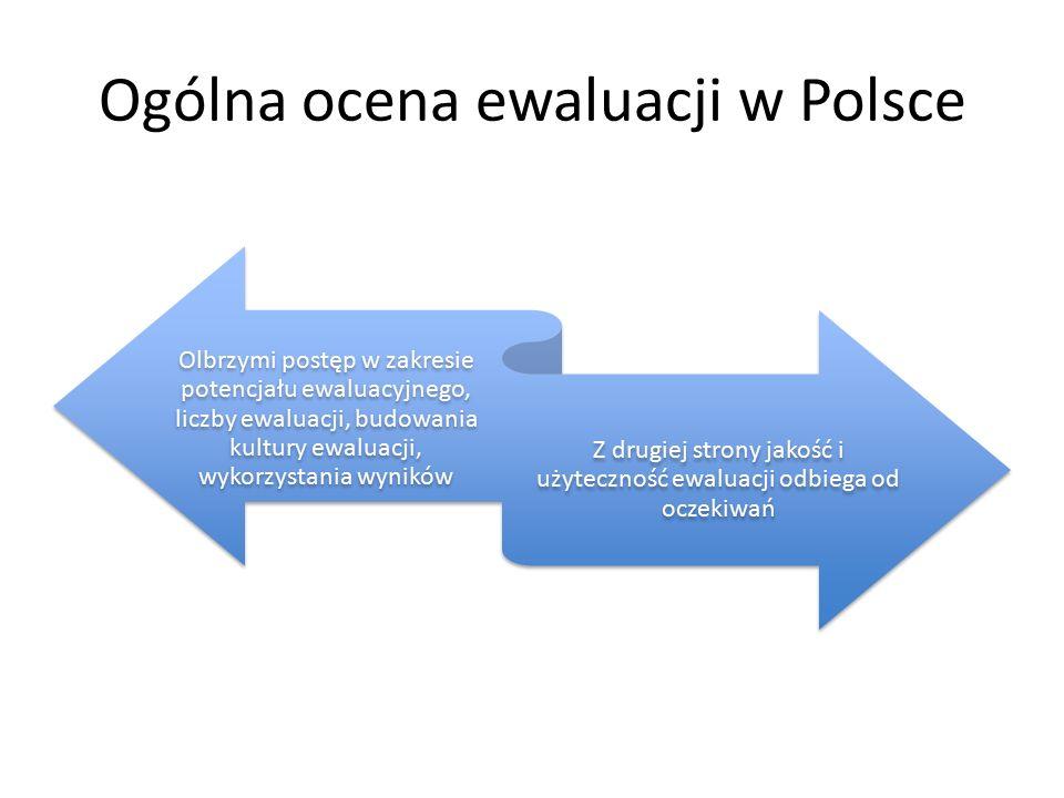 Ogólna ocena ewaluacji w Polsce Olbrzymi postęp w zakresie potencjału ewaluacyjnego, liczby ewaluacji, budowania kultury ewaluacji, wykorzystania wyników Z drugiej strony jakość i użyteczność ewaluacji odbiega od oczekiwań