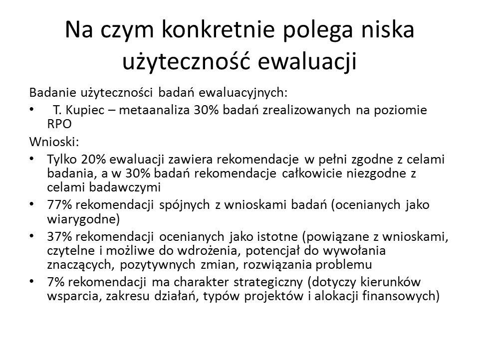 Na czym konkretnie polega niska użyteczność ewaluacji Badanie użyteczności badań ewaluacyjnych: T.