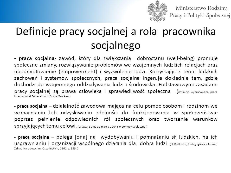 Definicje pracy socjalnej a rola pracownika socjalnego - praca socjalna- zawód, który dla zwiększania dobrostanu (well-being) promuje społeczne zmiany