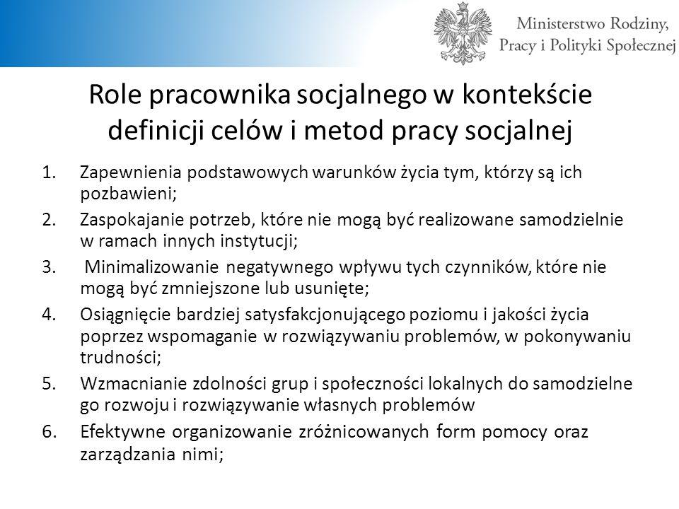 Role pracownika socjalnego w kontekście definicji celów i metod pracy socjalnej 1.Zapewnienia podstawowych warunków życia tym, którzy są ich pozbawien