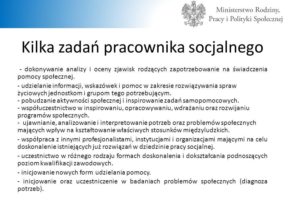 Kilka zadań pracownika socjalnego - dokonywanie analizy i oceny zjawisk rodzących zapotrzebowanie na świadczenia pomocy społecznej. - udzielanie infor