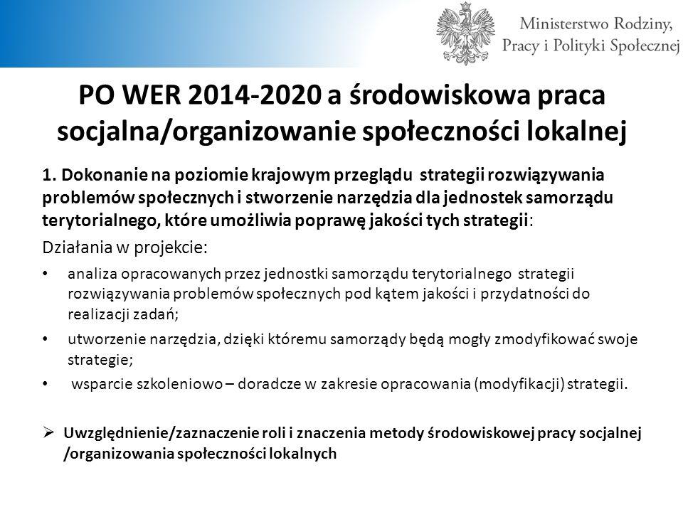 PO WER 2014-2020 a środowiskowa praca socjalna/organizowanie społeczności lokalnej 1. Dokonanie na poziomie krajowym przeglądu strategii rozwiązywania