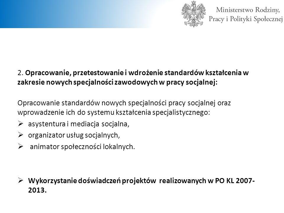 2. Opracowanie, przetestowanie i wdrożenie standardów kształcenia w zakresie nowych specjalności zawodowych w pracy socjalnej: Opracowanie standardów